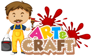 Spoed Fotobehang Kids Font design for word art and craft with man painting