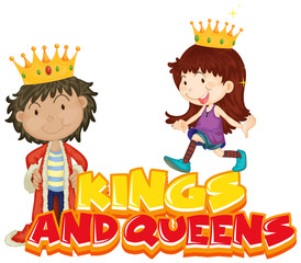 Spoed Fotobehang Kids Font design for word kings and queens with kids in costumes