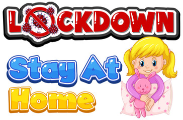 Spoed Fotobehang Kids Font design for word lockdown with girl staying at home