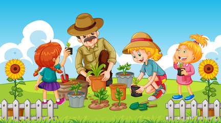 Photo sur Aluminium Jeunes enfants Scene with kid planting trees in the garden