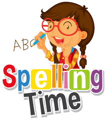 Spoed Fotobehang Kids Font design for word spelling time with girl writing abc