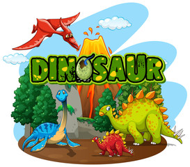 Spoed Fotobehang Kids Font design for word dinosaur with many dinosaurs in the forest