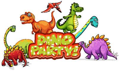 Photo sur Aluminium Jeunes enfants Font design for word dino party with many dinosaurs