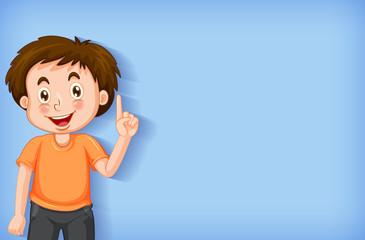 Photo sur Aluminium Jeunes enfants Plain background with boy pointing his finger