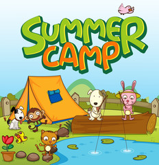 Spoed Fotobehang Kids Scene background design for word summer camp with many animals by the tent