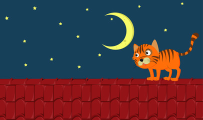 Spoed Fotobehang Kids Scene with ginger cat standing on the roof at night