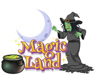 Spoed Fotobehang Kids Font design for word magic land with green witch and magic brew
