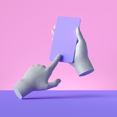 Fototapeta 3d render mannequin hands holding smart phone gadget, electronic device concept, isolated on pink violet background, minimal modern design. Remote control with touchscreen, user experience obraz