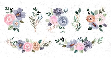 blue pink floral arrangement watercolor collection