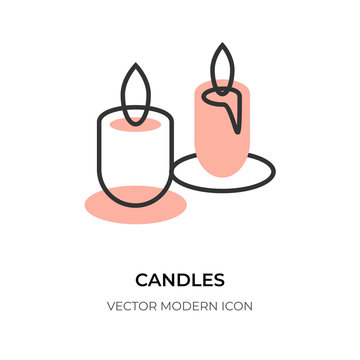 Candle flat line icon. Logo contour closeup two candles, wax fire sign. Simple shape border. Trendy relax, study, candlelight. Symbol christmas holiday, birthday, memorial Isolated vector illustration