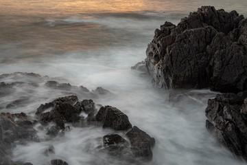 Aluminium Prints Salmon 雄武町日の出岬の海岸の風景