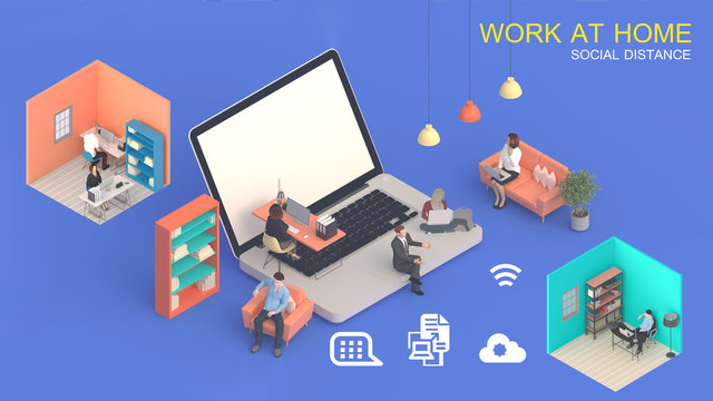 Home office workplace mess concept with laptop mockup and other objects  . 3D Rendering.Work from home concept. set of isometric interior working rooms of the house.Blank screen laptop computer .