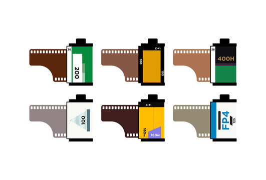 Set of camera vintage film roll cartridge icon isolated on color background. 35mm film canister. Filmstrip photographer equipment. Analogue camera vector Illustration