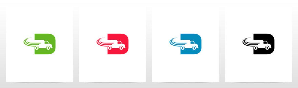Transport Truck On Letter Logo Design D
