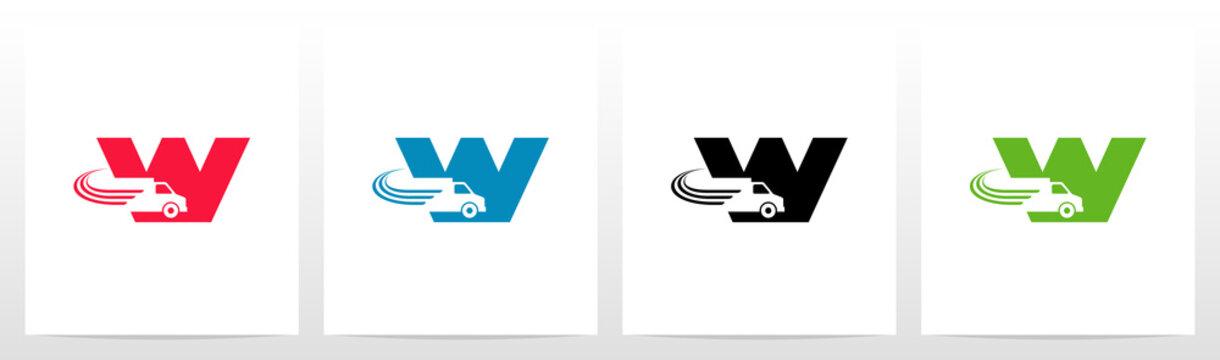 Transport Truck On Letter Logo Design W