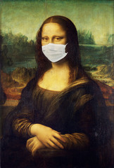 Mona Lisa wearing face medical mask Antivirus concept