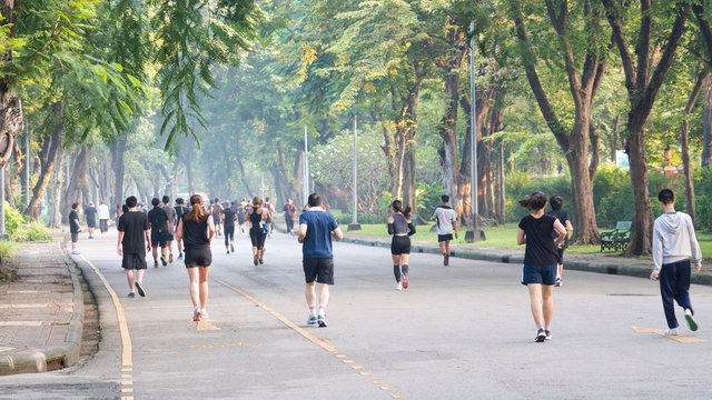 view of back of social distance people run and walk at pedestrian garden park.