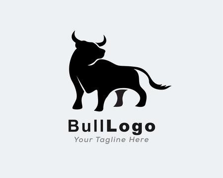 Elegant bull view front logo design inspiration