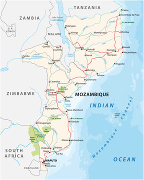 mozambique road and national park vector map