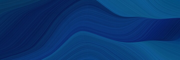 elegant decorative header design with midnight blue, teal and very dark blue colors. fluid curved flowing waves and curves Wall mural
