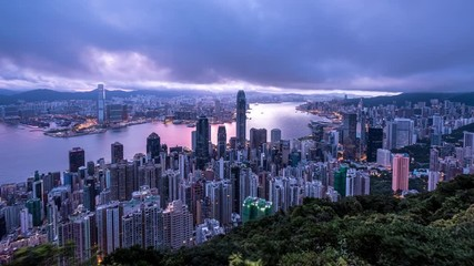 Fotomurales - Aerial dawn view of Victoria Harbor  from the peak at cloudy day