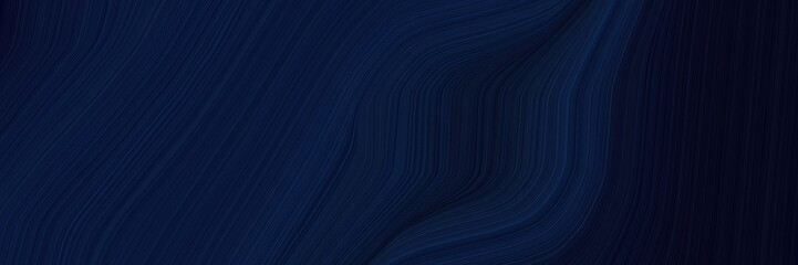 elegant colorful banner with very dark blue, midnight blue and black colors. fluid curved lines with dynamic flowing waves and curves