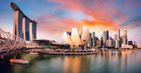 Fotomurales - Singapore city at  Marina during dramatic sunset