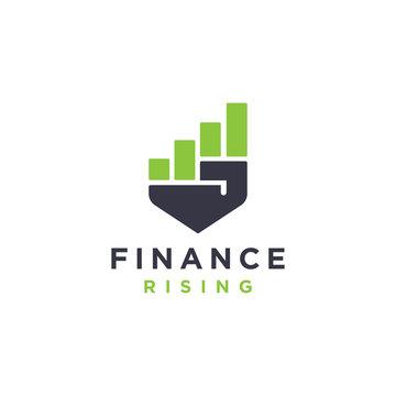 Abstract rising hand finance chart power growth logo vector
