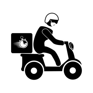 silhouette of delivery worker using face mask in motorcycle vector illustration design