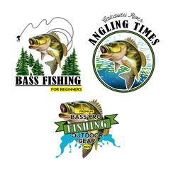 Poster Peche Bass Fishing Emblems. Largemouth Bass Fish Illustration.