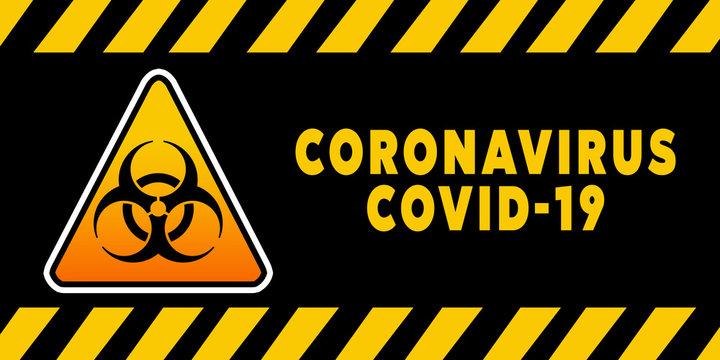 Biohazard Banner Coronavirus Covid-19 on black background. Concept of SARS-CoV-2. Virus Infection. Medical wallpaper. 3D illustration of coronavirus.