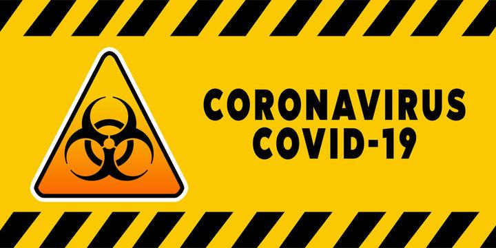 Biohazard Banner Coronavirus Covid-19 on yellow background. Concept of SARS-CoV-2. Virus Infection. Medical wallpaper. 3D illustration of coronavirus.