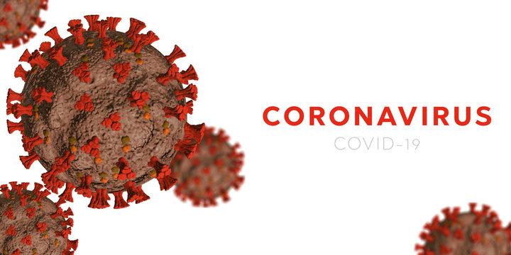 Microscopic view of Coronavirus Covid-19. Orange Concept of SARS-CoV-2. Virus Infection. Medical wallpaper. 3D illustration of coronavirus. White background.