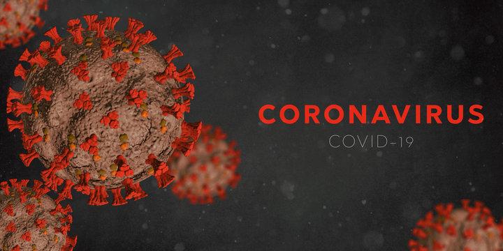 Microscopic view of Coronavirus Covid-19. Orange Concept of SARS-CoV-2. Virus Infection. Medical wallpaper. 3D illustration of coronavirus. Black background.