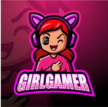 Gamer girl mascot esport logo design