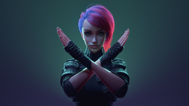 Portrait of young beautiful cyberpunk girl with short pink hair in leather jacket, gloves making x sign with crossed hands, gesturing stop, warning of danger. 3d illustration on green-purple backdrop
