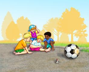 Jungs spielen im Sommer im Park barfuß Fußball. Ein Junge schreit auf, alle beugen sich über ihn, staunen schauen. Ein Unfall. Blut ist am Fuß zu sehen. Hilfe, Freundschaft, Zusammenhalt, Kinder, süß.