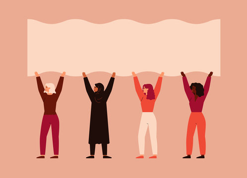 Strong women different nationalities and cultures stand together and pick up blank poster. Vector concept of the female's empowerment movement and Environment conservation