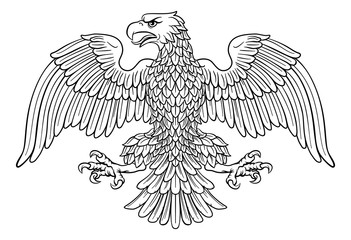 Eagle possibly German, Roman, Russian, American or Byzantine imperial heraldic symbol Wall mural