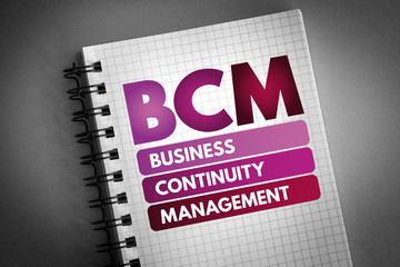 BCM - Business Continuity Management acronym, business concept background