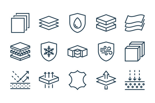 Fabric Feature related line icon set. Layered Materials vector vector icons.
