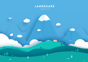 Colorful mountain paper cut style background vector illustration.