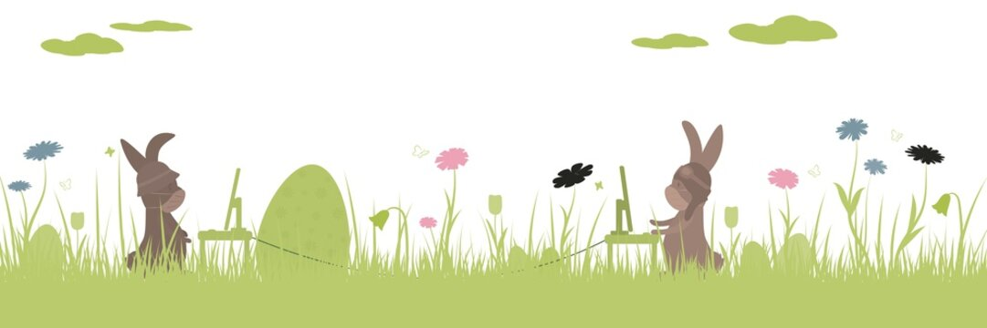 Easter rabbit illustration. Easter with COVID-19. Social distancing concept.