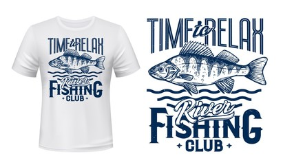 Perch fish t-shirt print of fishing sport club vector design. Ruffe river or lake water animal, fisherman catch with blue waves and lettering, fishing and outdoor hobby custom apparel Fotomurales