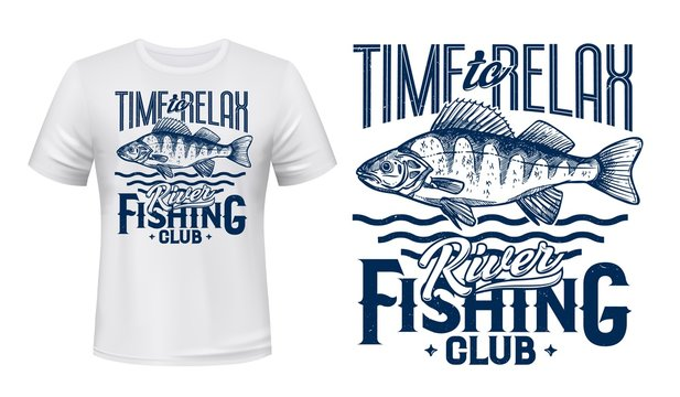 Perch fish t-shirt print of fishing sport club vector design. Ruffe river or lake water animal, fisherman catch with blue waves and lettering, fishing and outdoor hobby custom apparel
