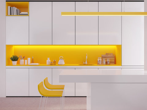 Modern white and yellow kitchen interior with bar counter,lamp and chairs.Countertop with sink,set of kitchen equipment.3d rendering