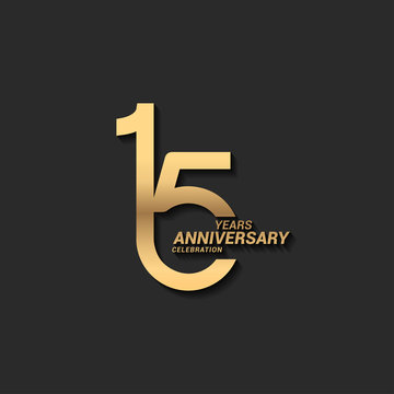 15 years anniversary celebration logotype with elegant modern number gold color for celebration