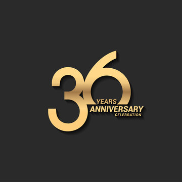 36 years anniversary celebration logotype with elegant modern number gold color for celebration