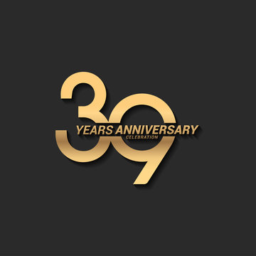 39 years anniversary celebration logotype with elegant modern number gold color for celebration