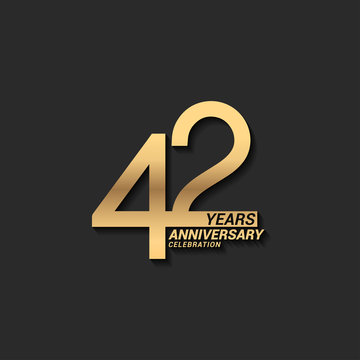 42 years anniversary celebration logotype with elegant modern number gold color for celebration
